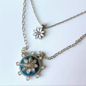 Lia Sophia Flower Pendant Double Strand Necklace